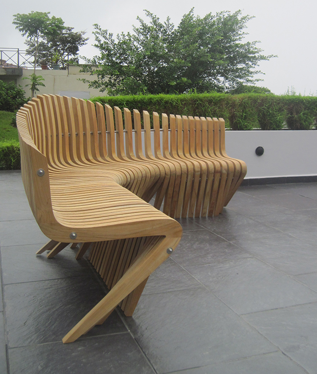Poolside bench, teak and stainless steel hardware, Boquete, Panama