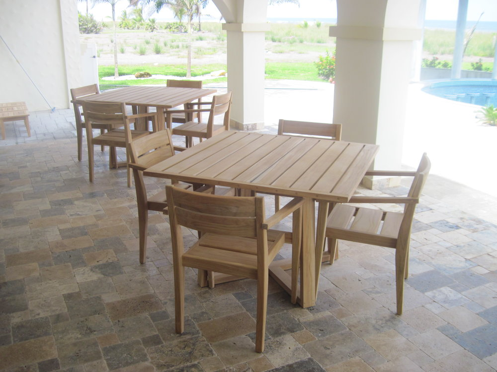 Dining set, solid teak, Las Olas resort, Alanje