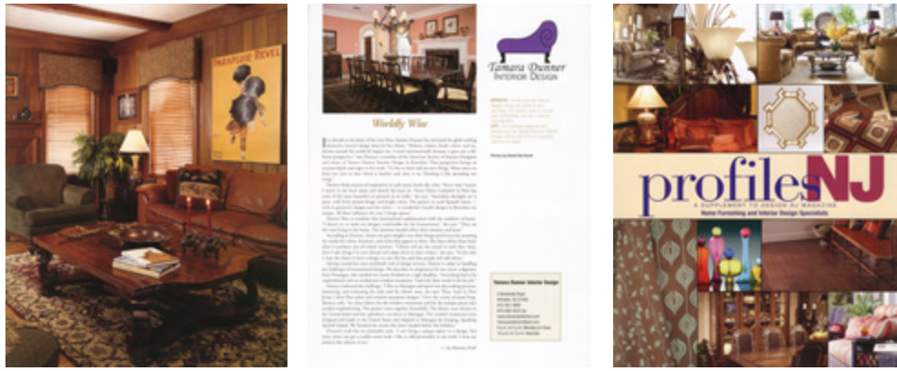 "INTERIOR DESIGN NEWSPAPER ARTICLES - -Daily Record March 27, 2004, ""Elegant Eye"" by Lorraine Ash-Suburban Trends October 19, 2005, ""Dunner Kitchen Deemed a Stunner"" by Hector Seda-The Record September 30, 2005, ""A Peek Inside Smoke Rise"" by Elaine D'Arerizio"