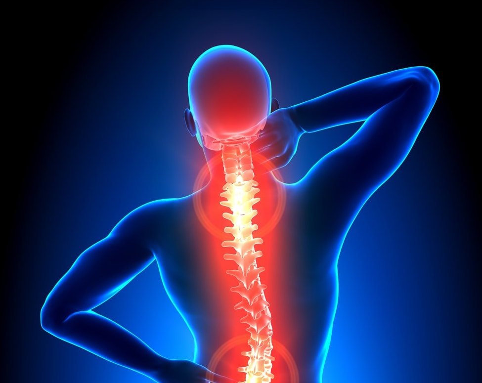 image of man with red glowing spine, symbolizing backpain