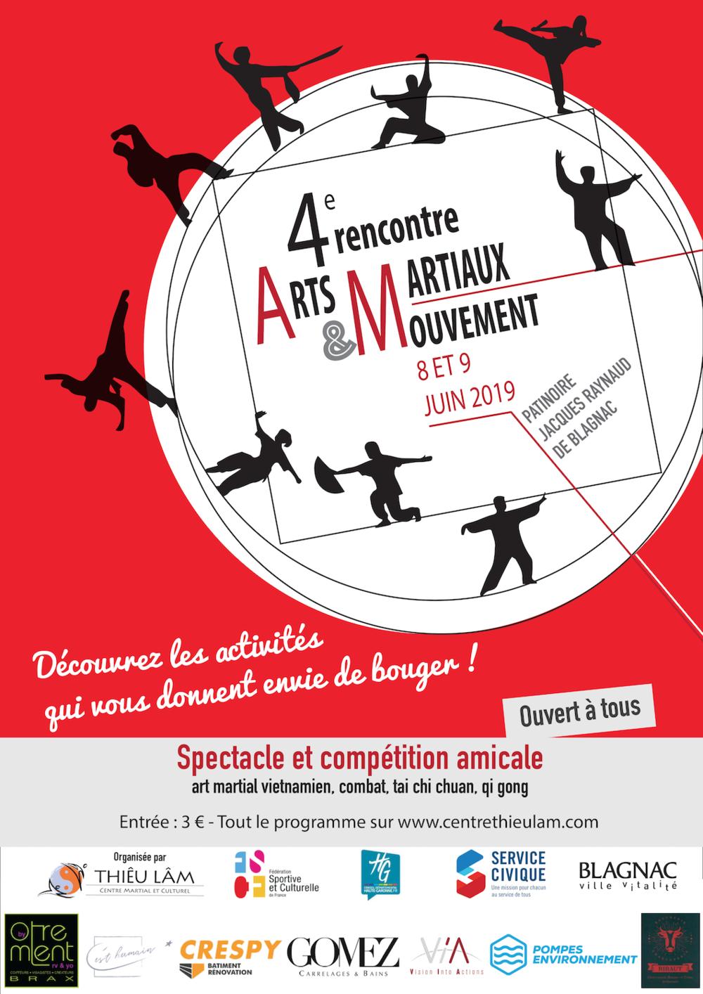 Affiche de la 3eme Rencontre des Arts Martiaux et du Mouvement