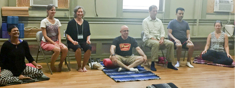 Meditators at the YMCA location