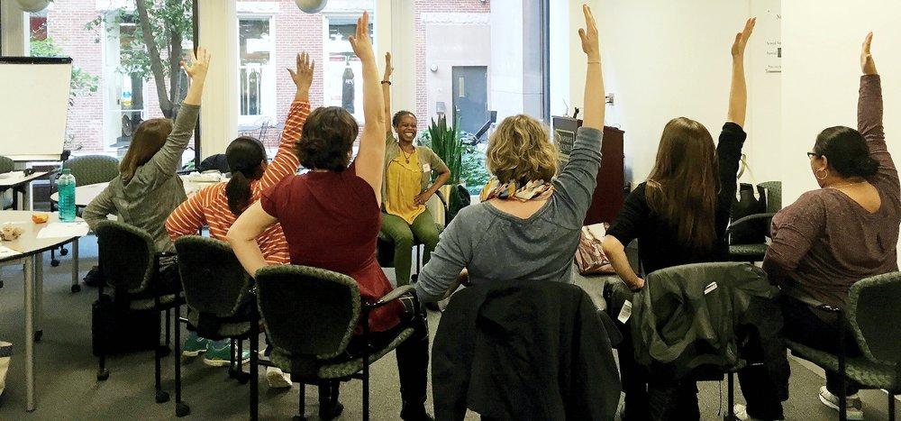 Shirronda leads us in chair yoga