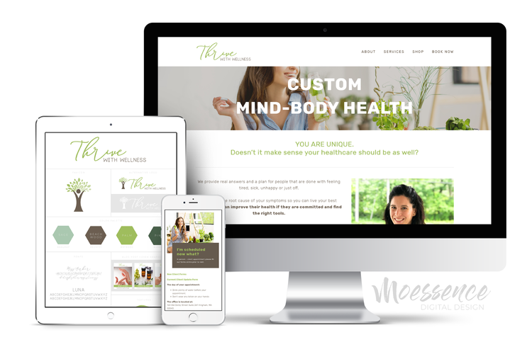 BRANDING & WEBSITE DESIGN • Thrive With Wellness — MOESSENCE