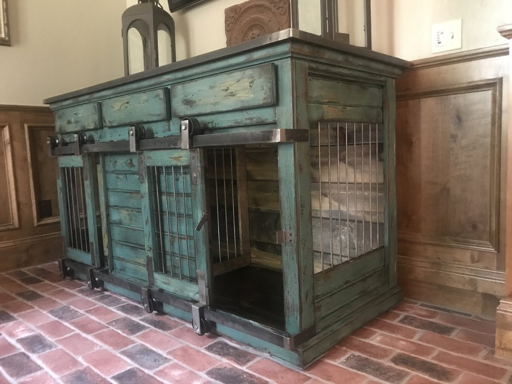Double Large, Drawers, Barn Doors, Peacock, Distressed, Washington