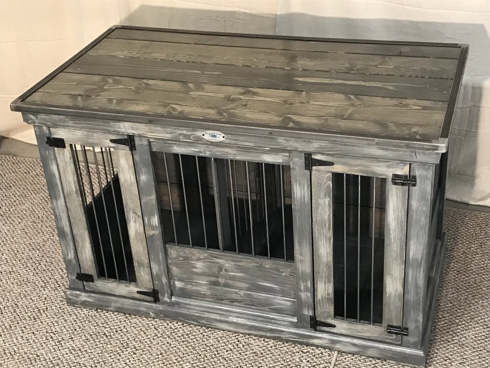 gray weathered double medium - Wooden Dog Crate End Tables