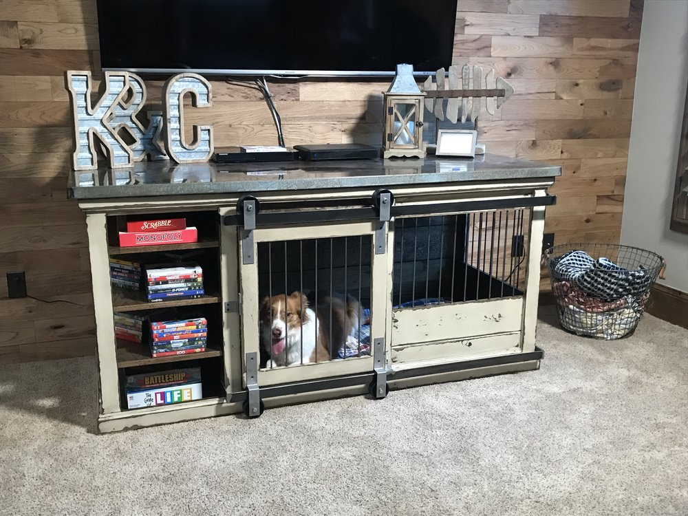 Media Cabinet Kennel, XL, Metal Top
