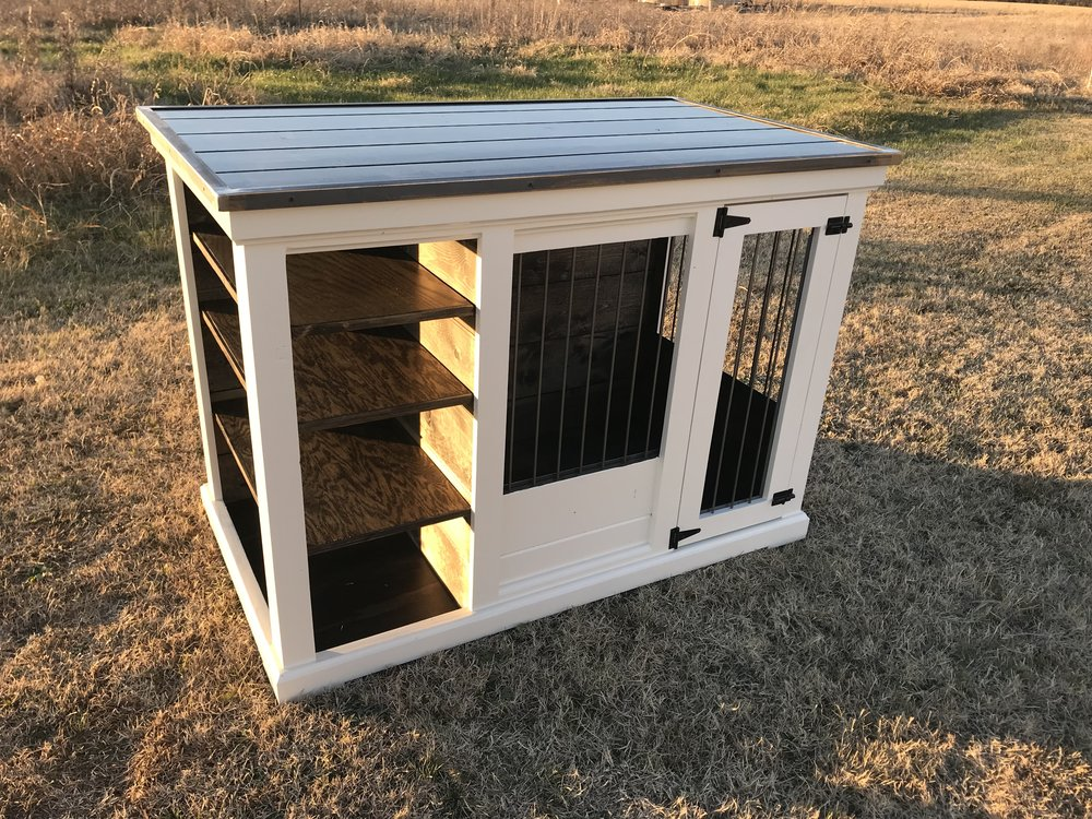 XL Kennel, Open Shelves, Left Side, White