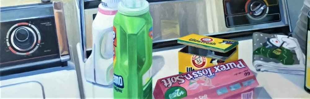 "Washer and Dryer,  oil on panel, 12"" x 36"", 1994"