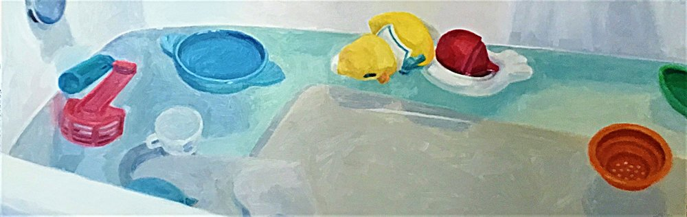 "Bathtub , oil on panel, 12"" x 36"", 1991"