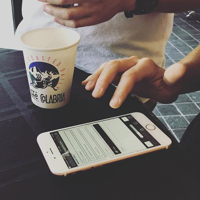 Coffee taste test in action with @caffecalabria! Our mobile taste test platform captures real time sensory feedback #TasteEndeavors