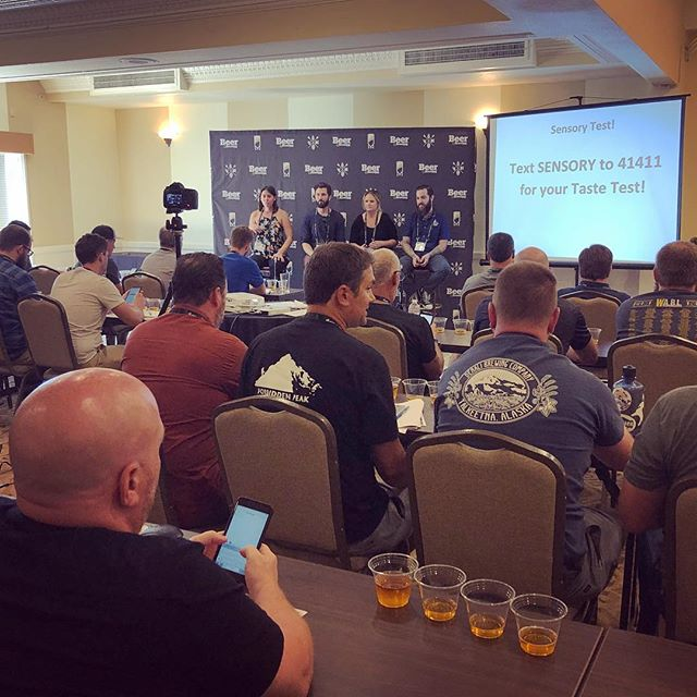 Taste Endeavors own @kellyschiabor participating in a sensory panel for @craftbeerbrew brewery workshop. Attendees used our platform to give their sensory feedback #TasteEndeavors
