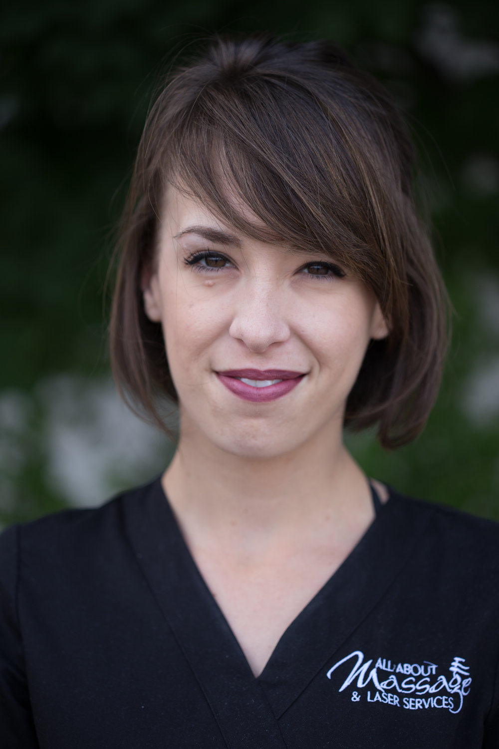 Angelina Labre - Angelina Labre received her certification from the college of hairstyling and aesthetics in Sudbury, in 2010. She has been with the all about massage team since the winter of 2014. Angelina has also been certified in sugaring (hair removal) and aromatherapy. She enjoys spending time with her clients in a relaxing atmosphere, helping them to feel their best whether it is with their foot care, a variety of facial treatments or her personal favourite, the essential touch. This service uses a variety of specially chosen essential oils to help restore balance and boost the immune system. Angelina also performs full body exfoliations, as well as manicures, threading and waxing.Angelina enjoys spending time with young daughter as well as her new passion, sewing!