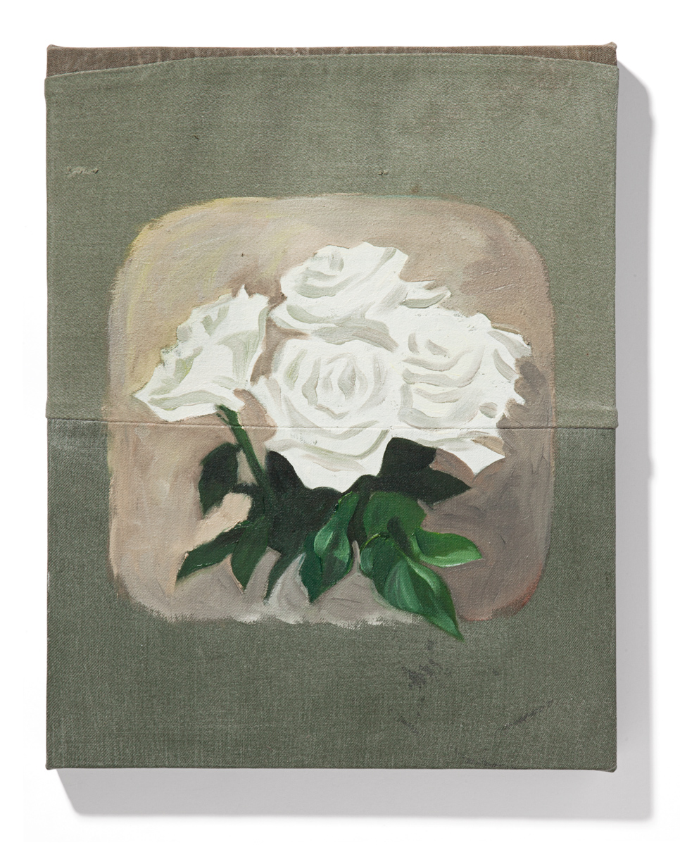 oil on used military fabric  360 × 280 mm (14 × 11 inch)  2018