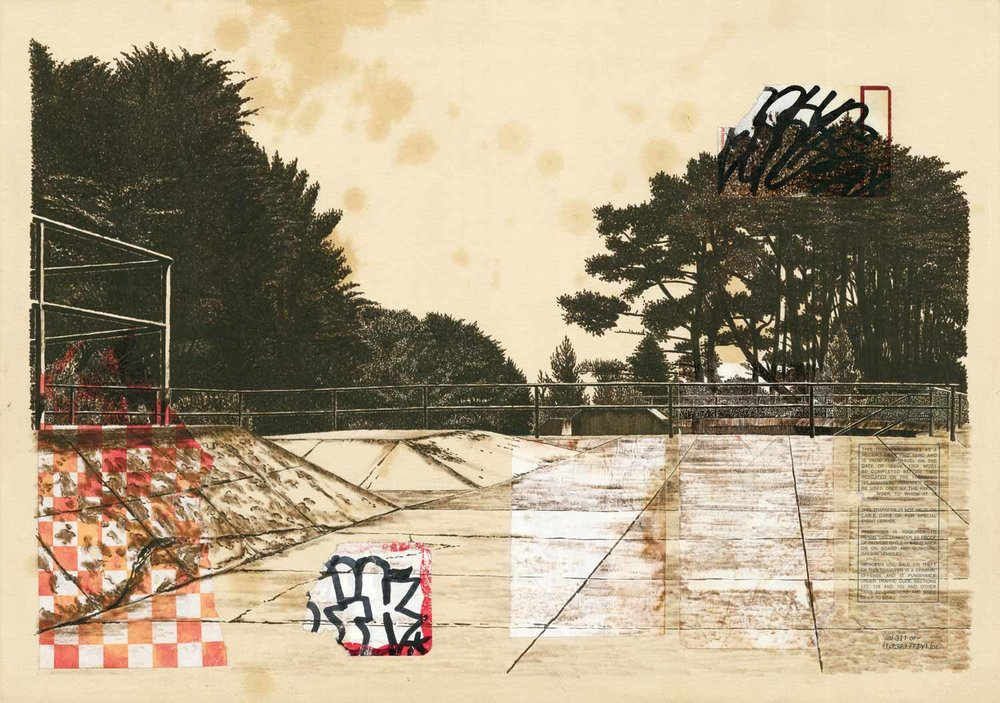 ink and collage (found paper) and coffee on paper  515 × 364 mm (20 × 14 inch)  2012