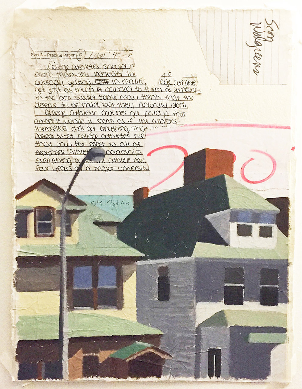 oil and collage (found paper) on paper  380 × 290 mm (15 × 11.4 inch)  2016
