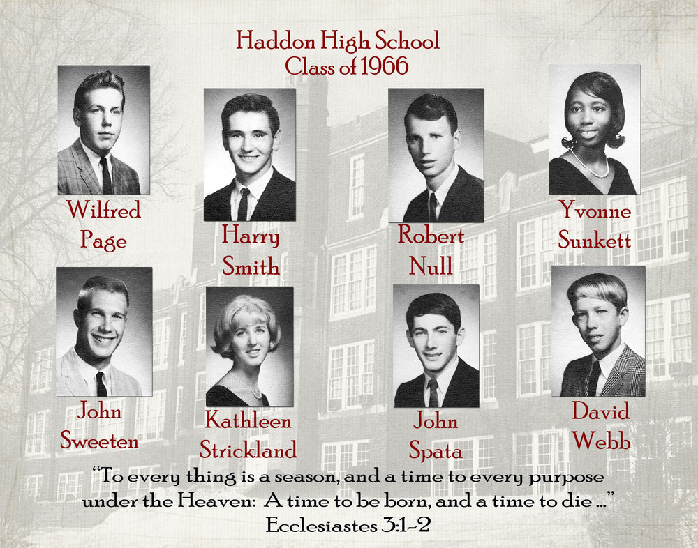 Memorial Page with School Photo Background