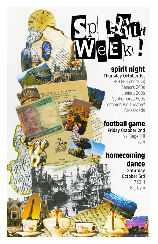"Spirit Week (collage/digital, 11x17"")"