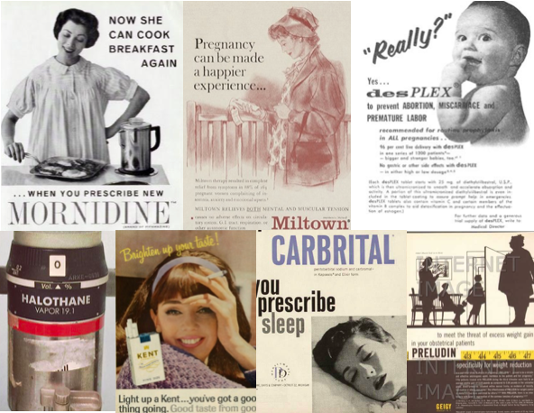 Synthetic drugs, including those used in pregnancy, boomed during the postwar decades. In addition, maternal smoking peaked in the 1960s. Some examples of common pregnancy drugs from the 1950s and 60s, pictured clockwise from top left: anti-nausea, anti-anxiety, synthetic steroid hormones [pictured here, an ad for the notoriously toxic drug DES], volatile anesthetic gases, tobacco, barbiturates, amphetamines/methamphetamines.