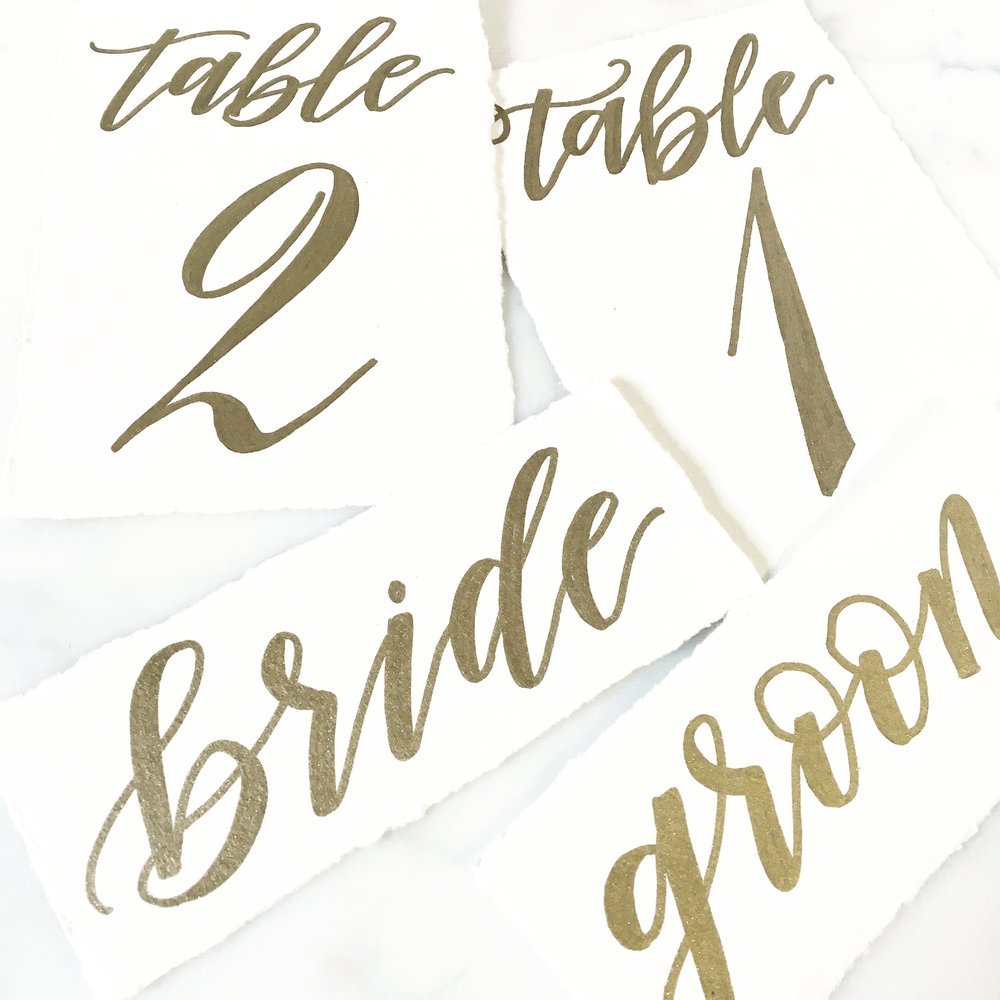 Wedding table numbers with bride & groom placecards