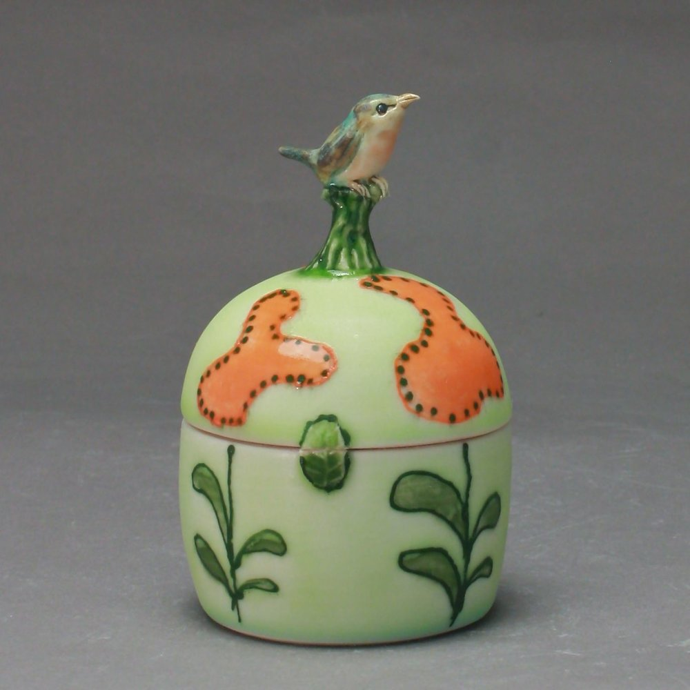 B- 02 |   Pale Green Flowered Box with Robin ($175)