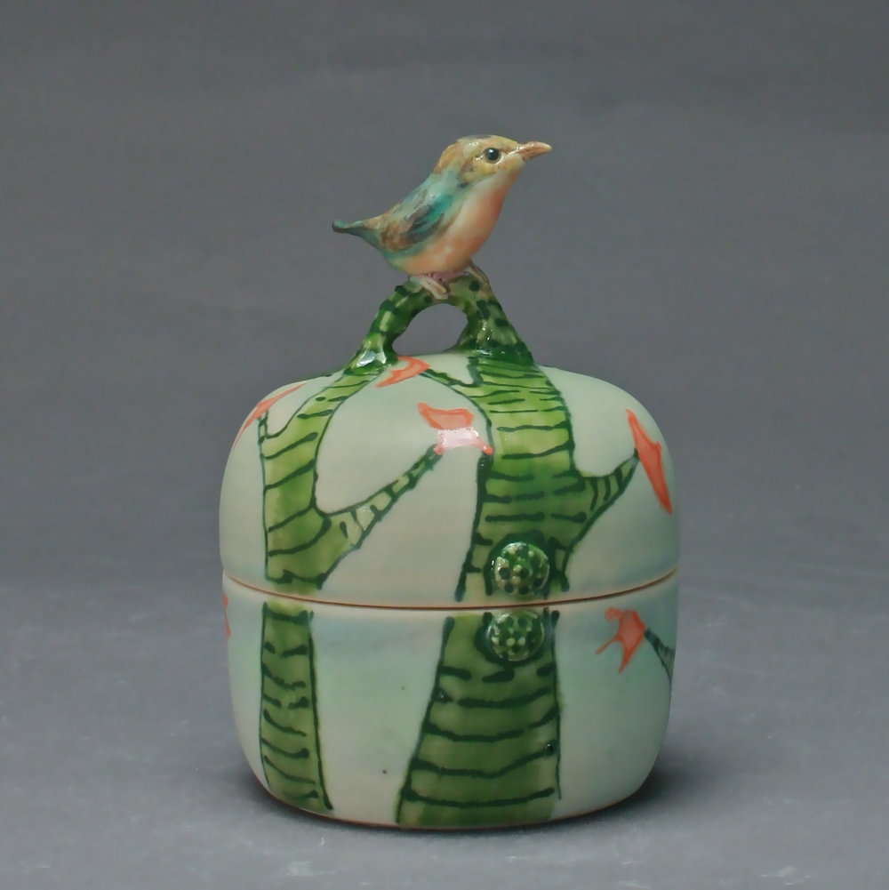 B- 05 |    Green Trees Celadon Box with Robin ($150)