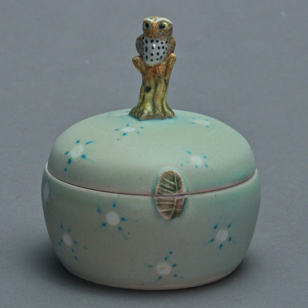 B- 03 |   Spotted Celadon Box with Owl ($175)