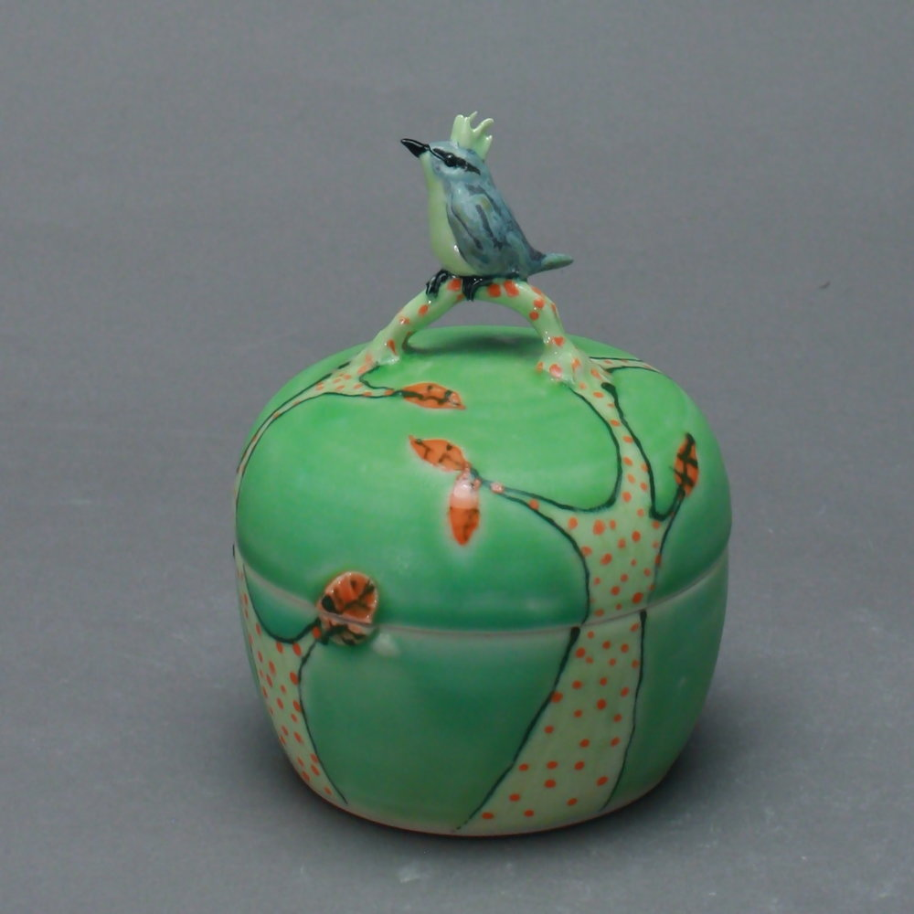 B- 06 |   Green Trees Box with Bulbul ($175)