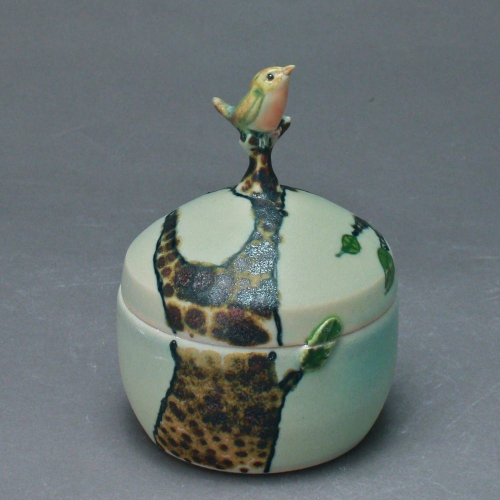 B- 07 |  Bronze Tree Celadon Box with Robin ($175)
