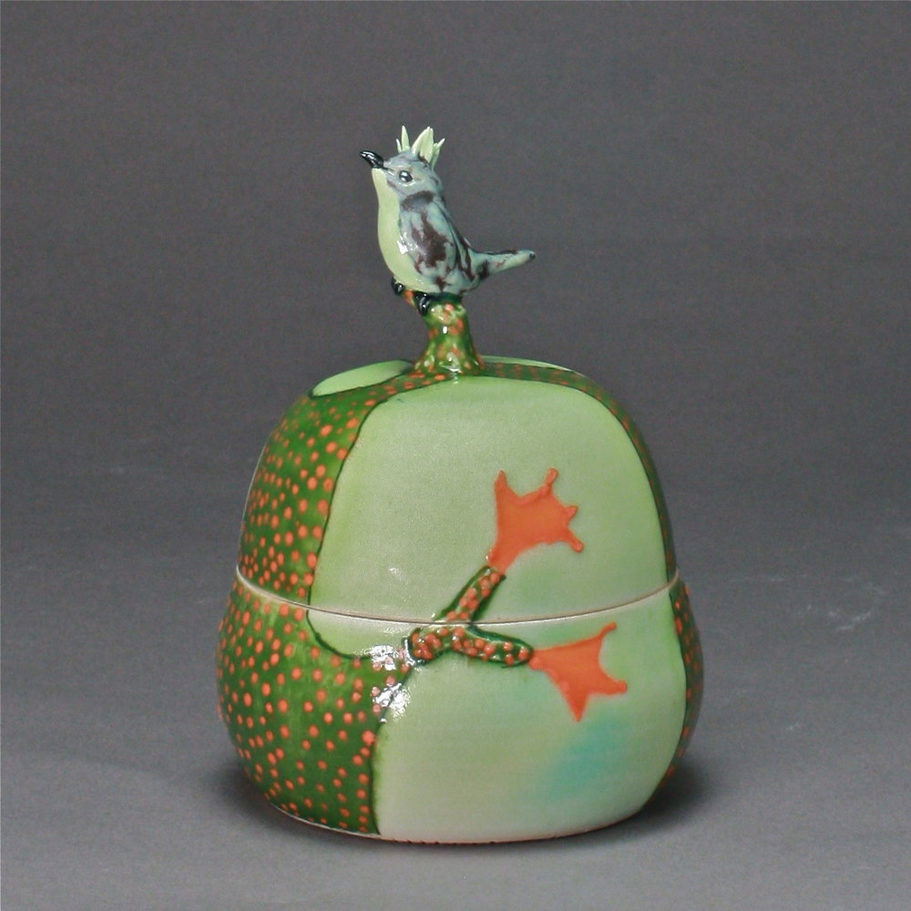 B- 09 |  Autumn Trees  Green Box with Bulbul ($175)