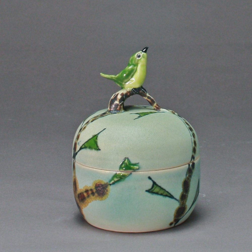 B- 12 |   Autumn Trees Green Box with Flycatcher ($175)