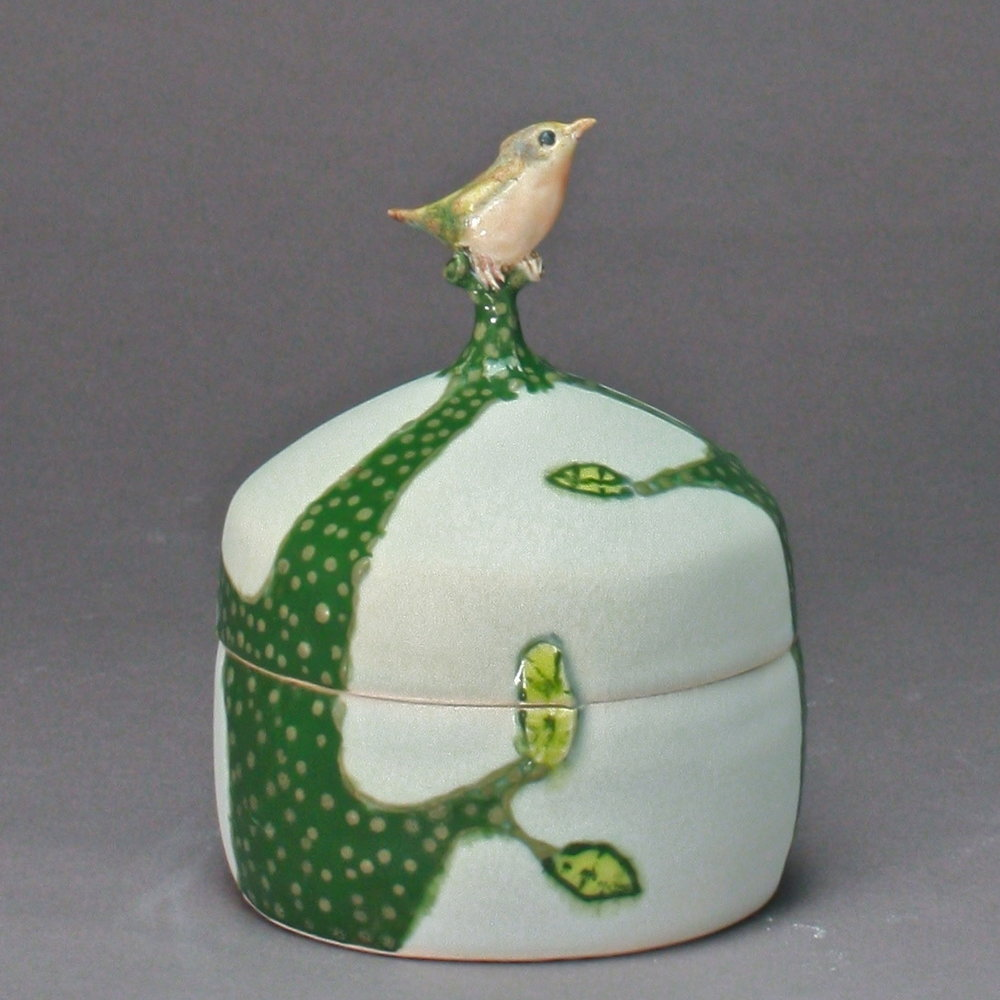 B- 14 |    Green Spring Trees Celadon Box with Robin ($175)