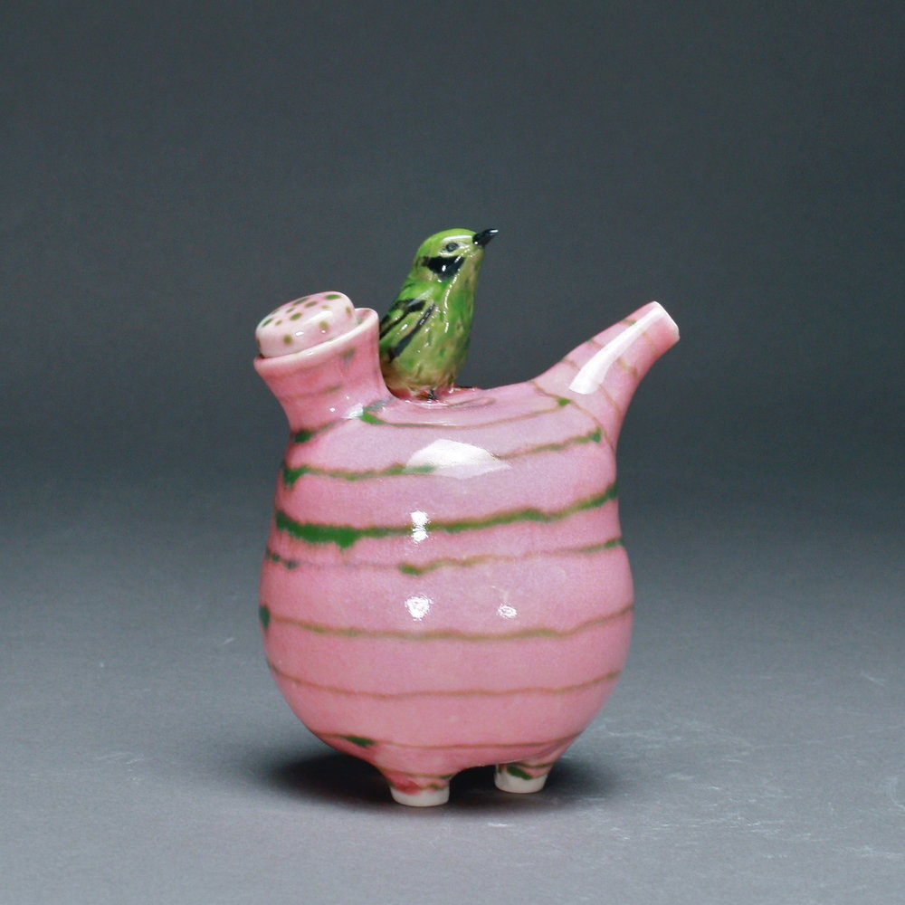 OC-02 | Green Stripe Pink Oil Cruet with Manakin ($160)