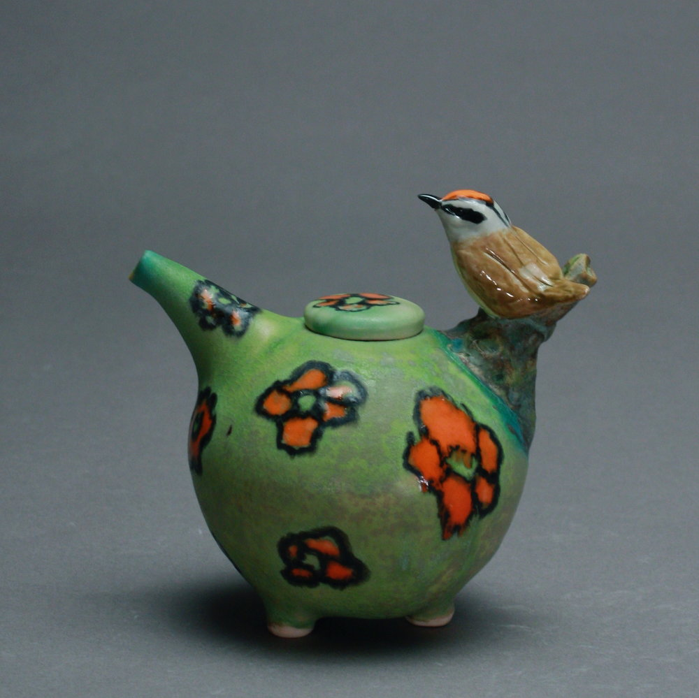 OC-05 | Orange Flowered Chartreuse Oil Cruet with Orange Crowned Warbler ($160)