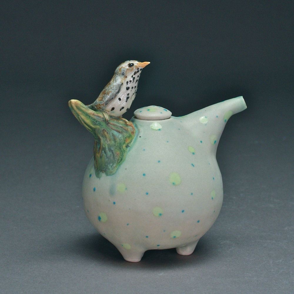 OC-06 | Spotted Celadon Oil Cruet with Waterthrush ($160)