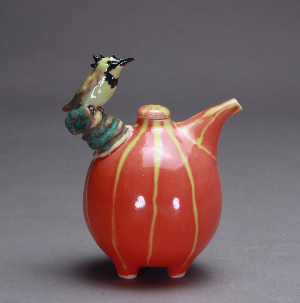 OC-08 |  Striped Mango Oil Cruet with Crested Barbet ($160)