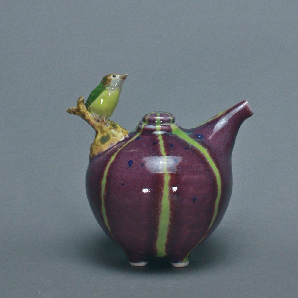 OC-09 |  Striped Purple Oil Cruet with Flycatcher ($160)
