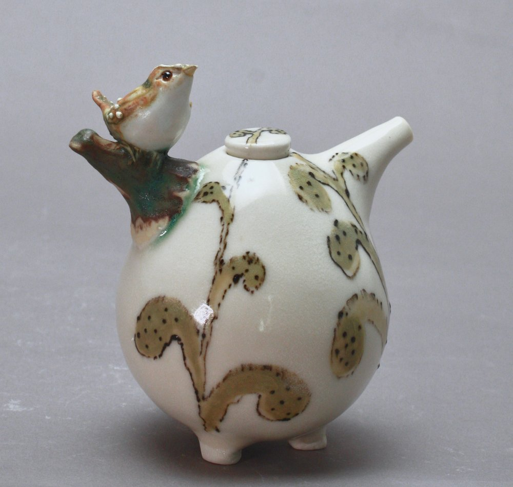 OC-12 | Stems and Leaves White Oil Cruet with Sparrow ($160)