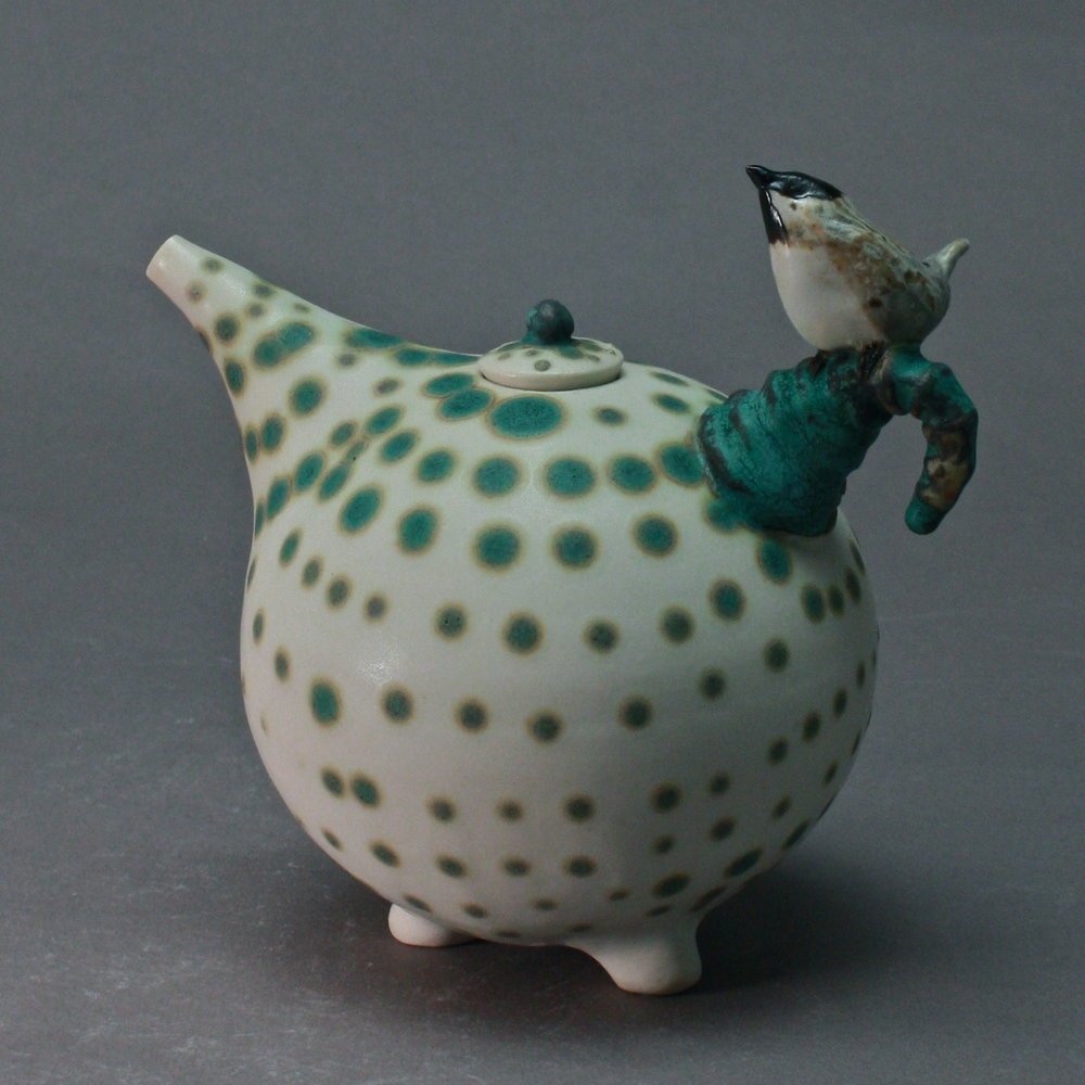 OC-14 |Spotted Matte White  Oil Cruet with Chickadee ($160)