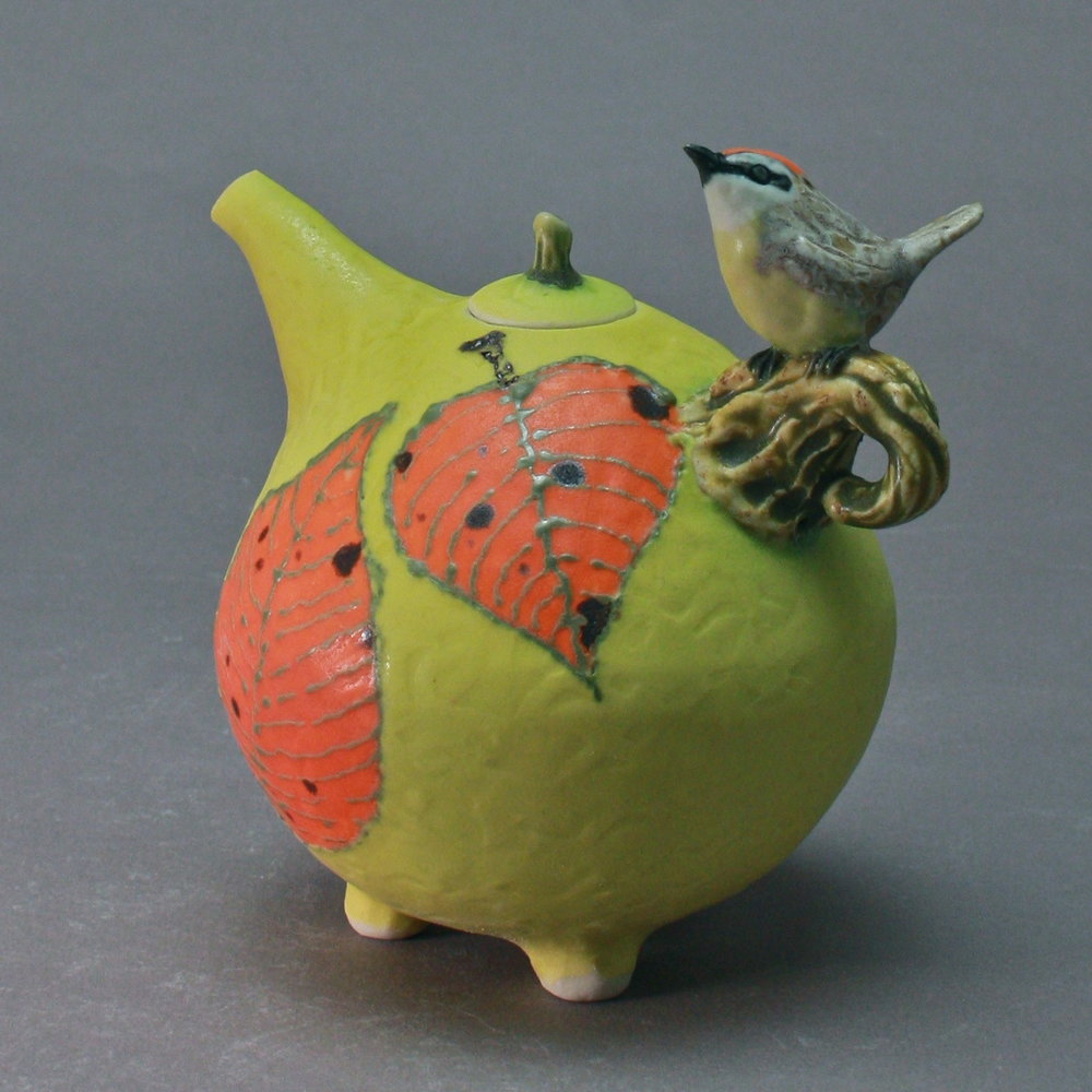 OC-11 | Orange Leaves Yellow Oil Cruet with Rufous Crowned Warbler ($160)