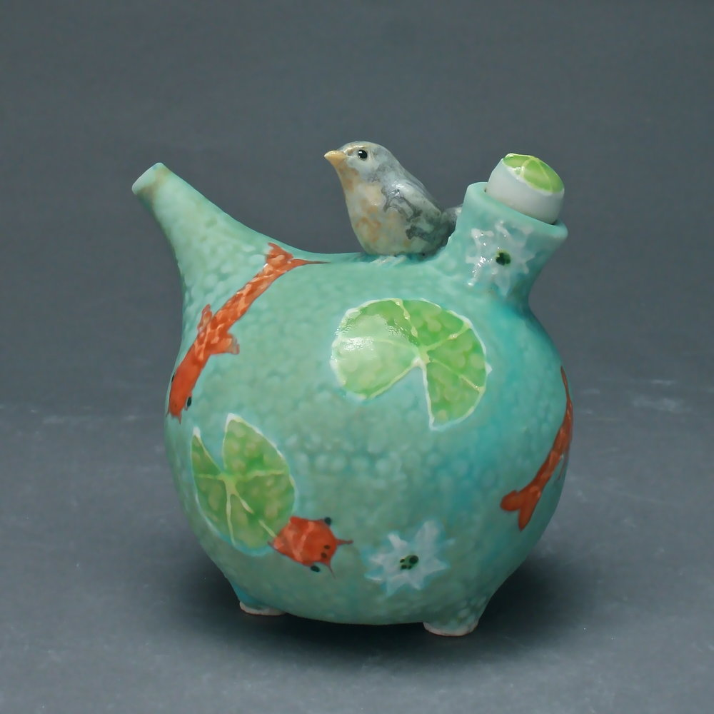 OC-15 | Blue Koi Pond  Oil Cruet with Bluebird ($160)