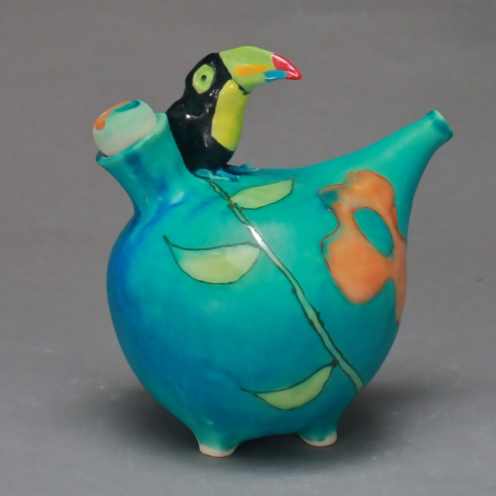 OC-07 | Flowered Turquoise Oil Cruet with Toucan ($160)