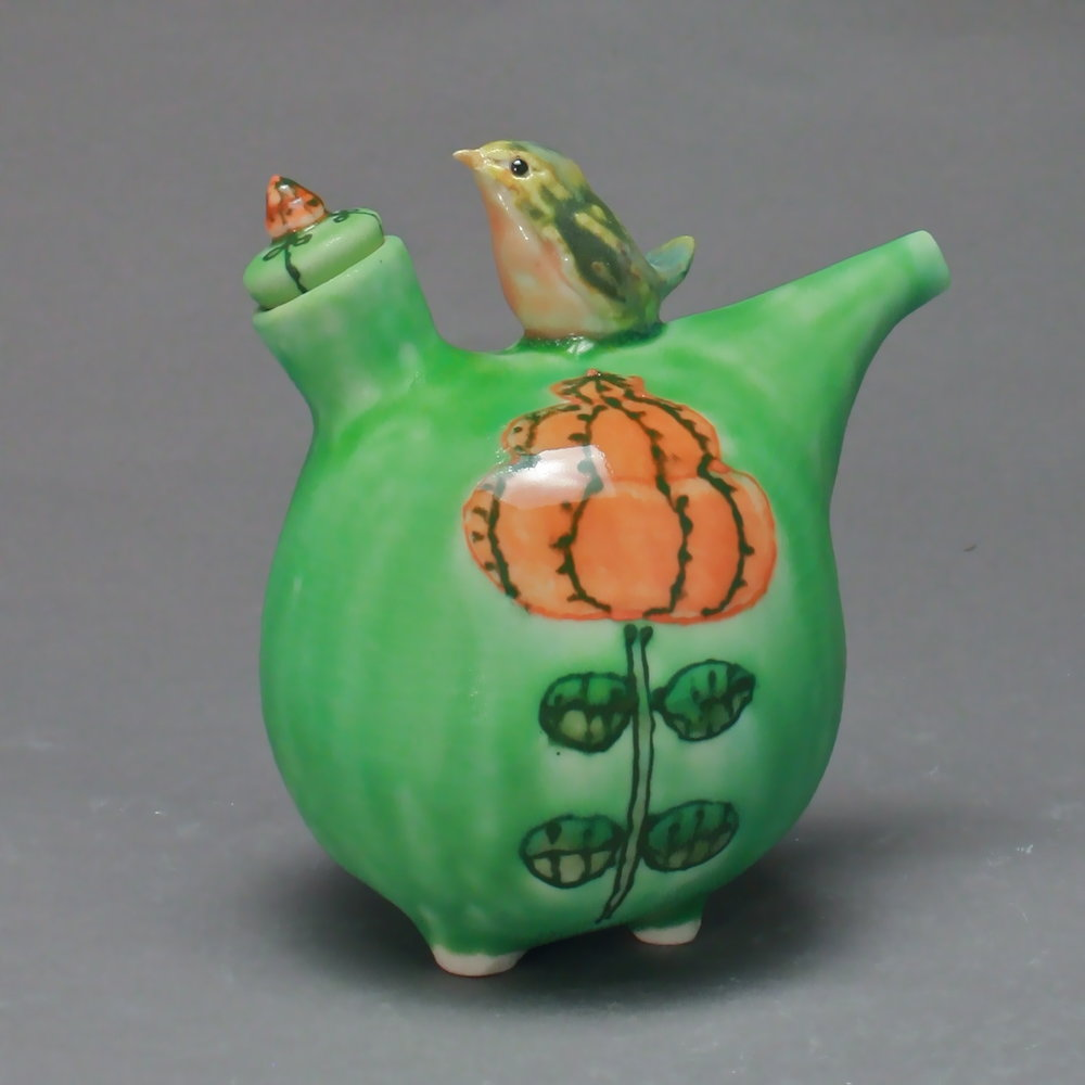 OC-13 | Orange Flower Green Oil Cruet with Robin ($160)