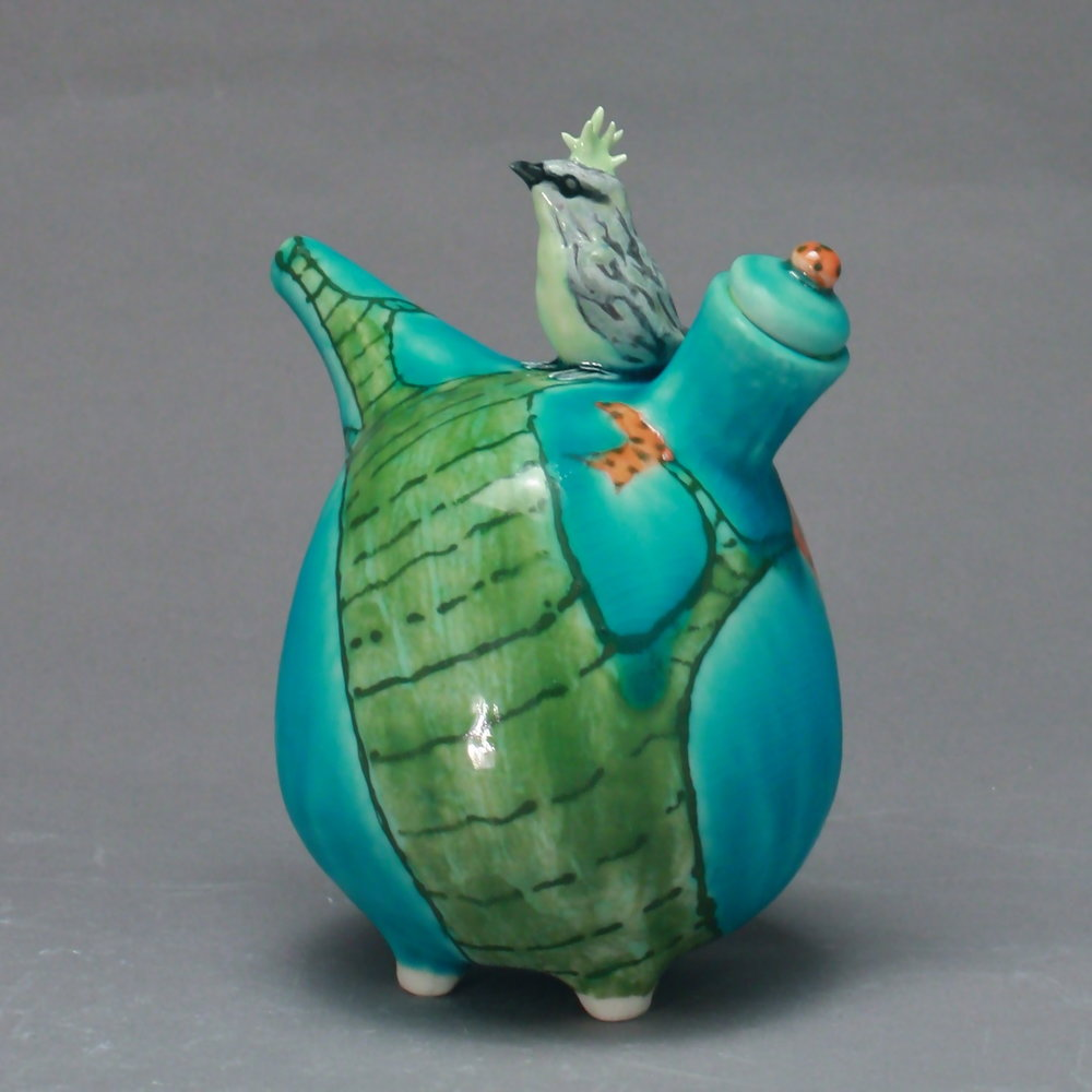 OC-19 |  Green Tree Turquoise Oil Cruet with Bulbul ($160)