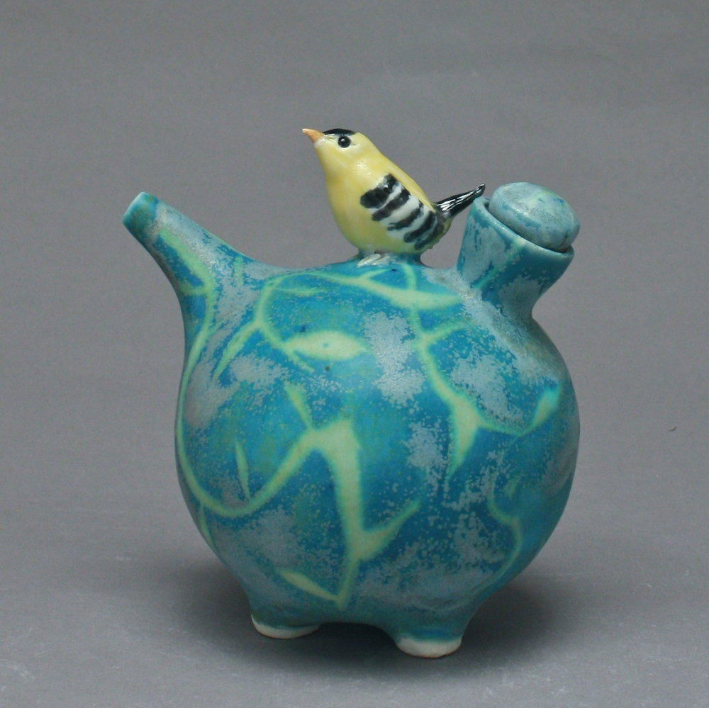 OC-28 | Blue Patterned Oil Cruet with Finch ($160)