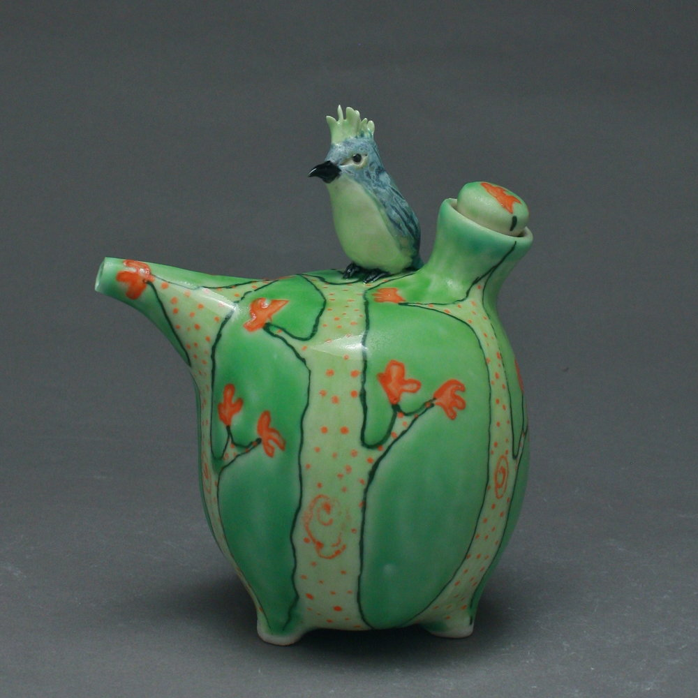 OC-21 | Orange Dotted Trees Green Oil Cruet with Bulbul ($160)