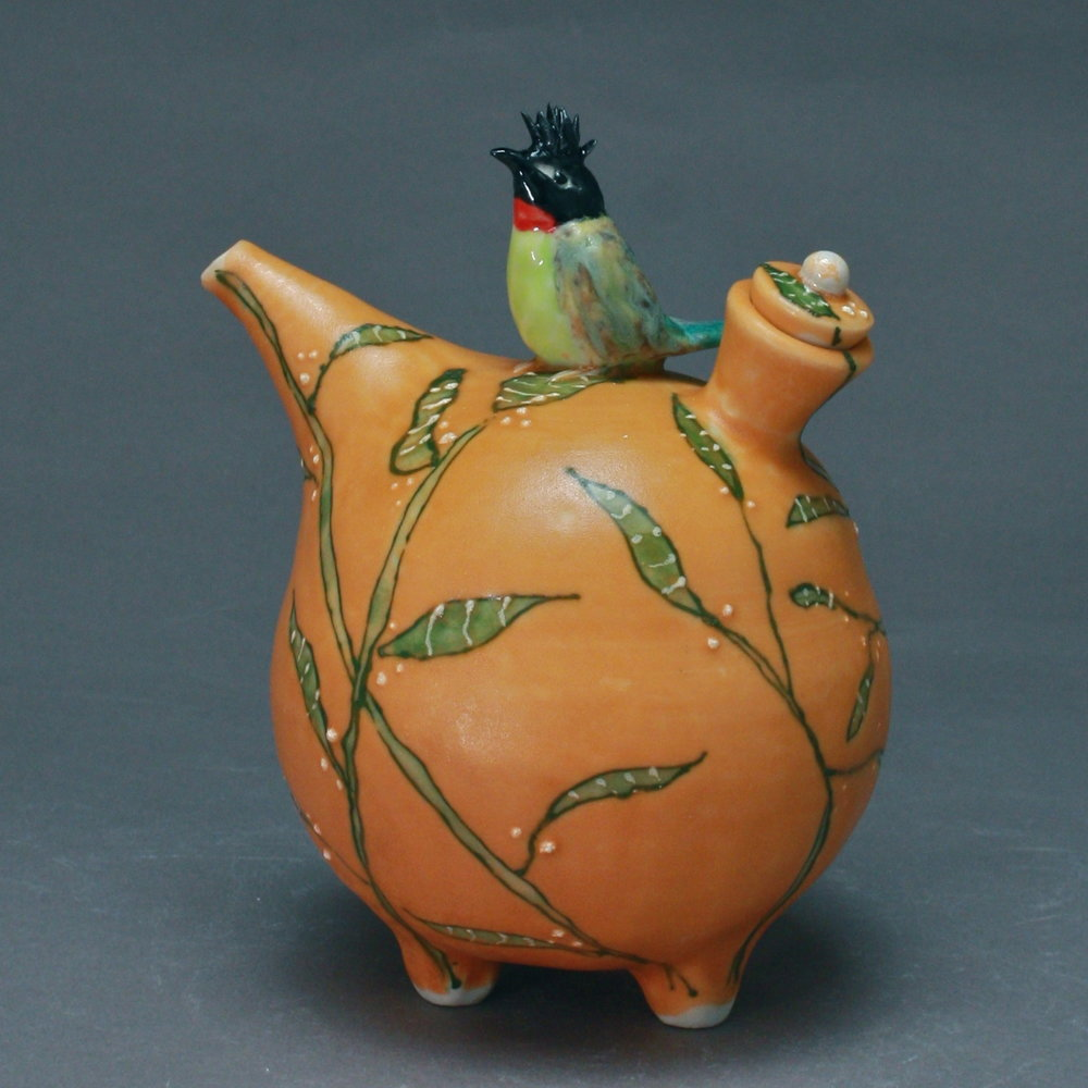 OC=23 | Orange Oil Cruet with Green Stalks and  Bulbul ($160)