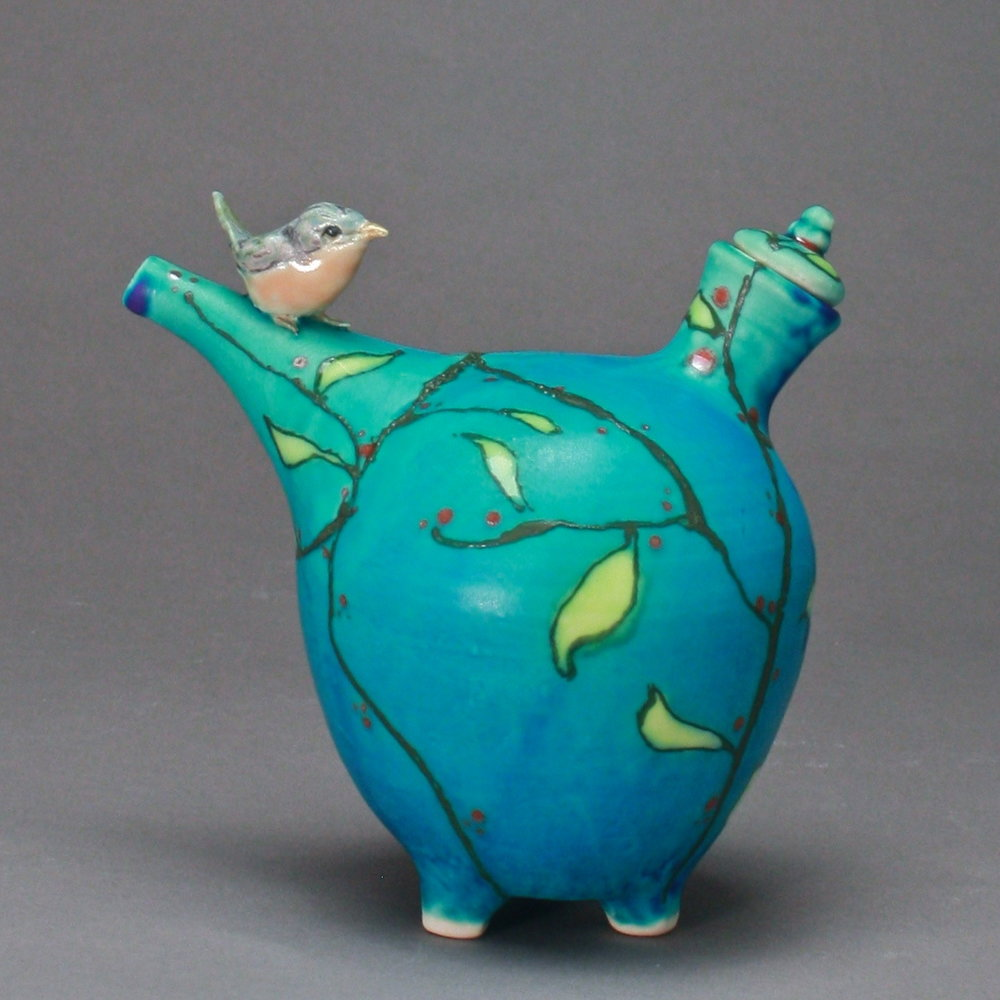 OC=24 | Spring Turquoise Oil Cruet with Robin ($160)