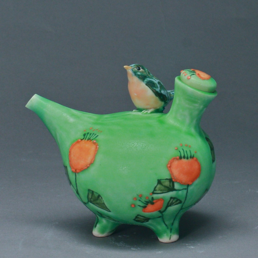 OC=25 | Orange Flowered Green Oil Cruet with Bluebird ($160)