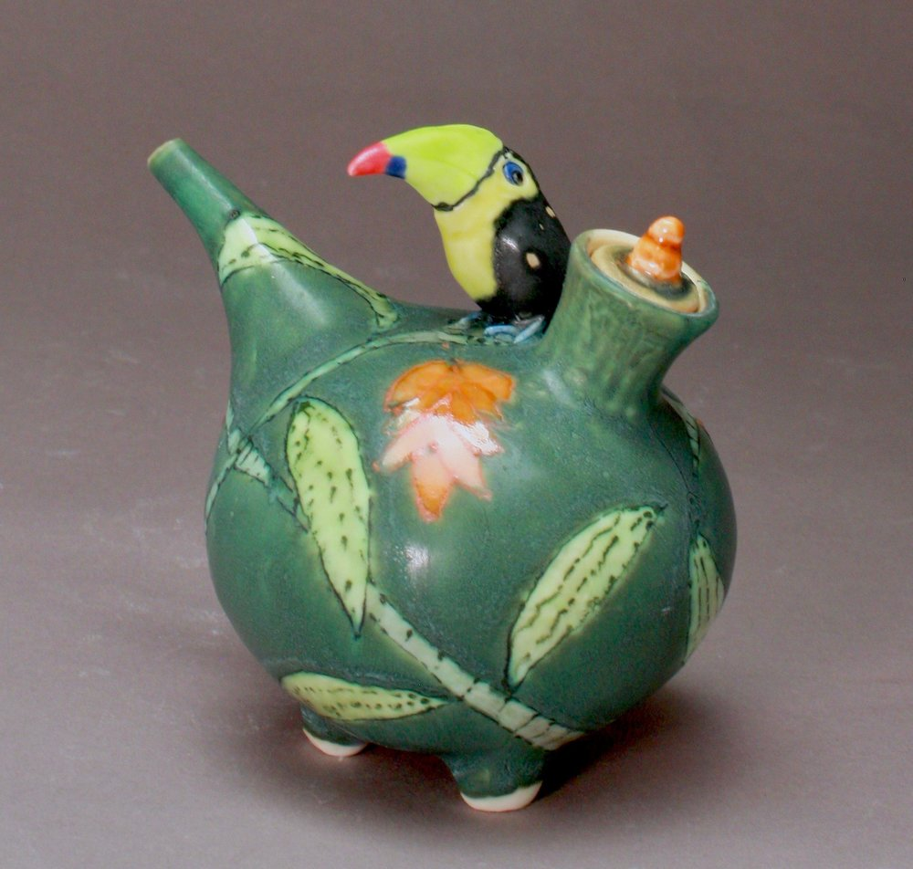 OC-27 | Dark Green Oil Cruet with  Orange Flowers and Toucan ($160)